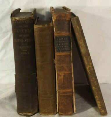 Distressed Antique Leather Decorative Book Set Farmhouse Rustic Shabby Vintage