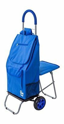 Trolley Dolly with Seat Blue Shopping Grocery Foldable Cart Tailgate
