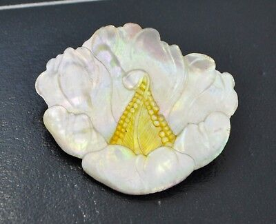 Antique MOTHER OF PEARL Ornate Carved PEONY FLOWER BROOCH / PIN - Chinese