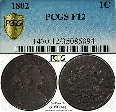 1802 1c Draped Bust Large Cent PCGS F12 S-230 perfect die state die stage 1 coin