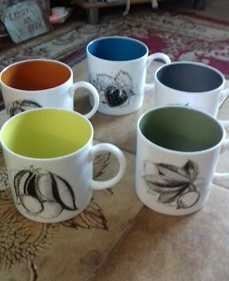 Vintage Susie Cooper Black Fruit Coffee Can Cup  x 5