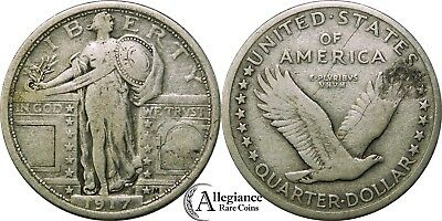 1917 type 1 Standing Liberty Silver Quarter NICE GRADE rare old type coin money
