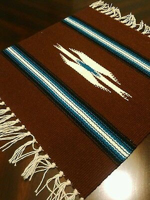 Chimayo 100% Wool Textile 14 1/2 X 14 1/2 Brown Weaving Made in New Mexico #B2
