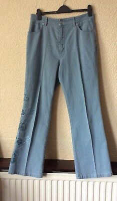 Ladies Size 16 M&S Jeans With Embroidered Detail