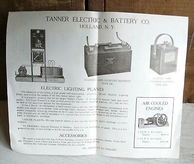Hit and miss engines, farm items - antique advertising flyer, Tanner, Holland NY