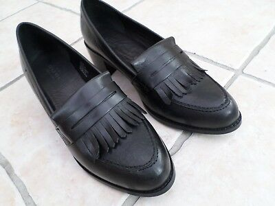 """Next black leather shoes size 7 / 41 slip on 2"""" block heel wore once"""