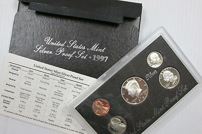 1997 S US Mint SILVER Proof Set 5-Coin Set in OGP Box w/ COA - Free Shipping