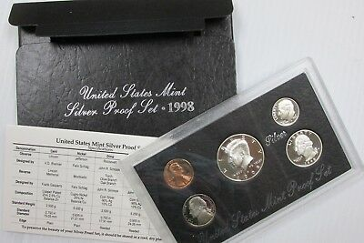 1998 S US Mint SILVER Proof Set 5-Coin Set in OGP Box w/ COA - Free Shipping