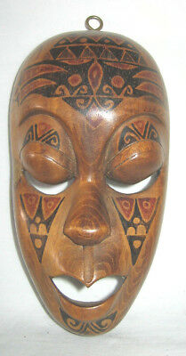 Vintage African Wooden Hand Carved Wall Mask