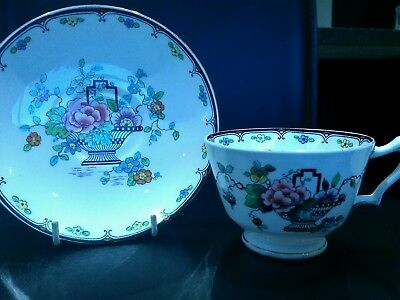 Crown Staffordshire China Cup & Saucer Black Basket & Flowers