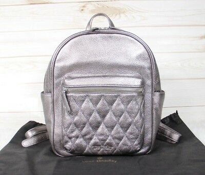 38d5f23acc03 Vera Bradley Quilted Metallic Silver Caspian Sea Leather Leighton Backpack   268