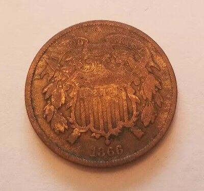 1866 Two Cent Piece Nicer Coin Better Date Free Shipping