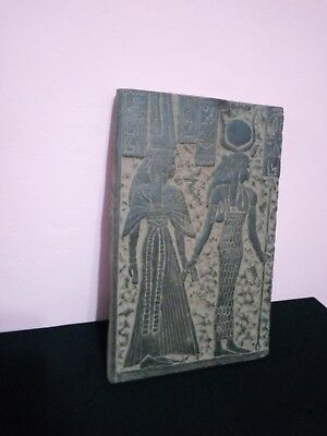 RARE ANTIQUE STONE OF Ancient Queen Nefertiti & Isis Egyptian Statue 1370-1330Bc