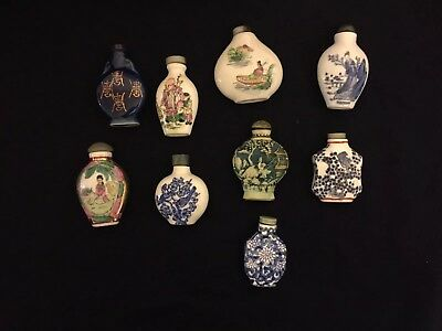 Nine Superb 19th century Chinese Snuff bottles, Qing Dynasty,Qianlong,signed