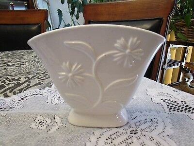 Vintage Japan Wall Pocket White Glazed Porcelain w/Flowers & Leaves Mfg Mistakes