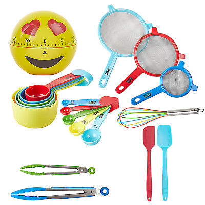 19 pc Kitchen Utensil Measuring Spoon Cup Spatula Whisk Tongs Timer Cookware Set