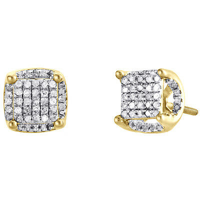 10K Yellow Gold Real Diamond 4 Prong Halo Tiered Stud 8mm Pave Earrings 1/2 CT.