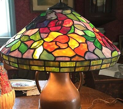 """17"""" VINTAGE LEADED STAINED GLASS LAMP SHADE Antique Arts & Crafts Base Separate"""