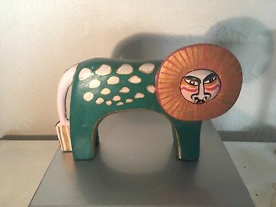 Laurel Burch Collectable Art Small Wooden Statue Lion Cat 6X8 Teal Pink Gold