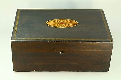 ! Antique Hand Painted Wood Porcelain Lined Humidor Box Cigar Tea Tobacco