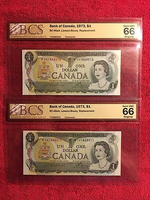 Bank of Canada BC-46aA 1973 1 Dollar Replacement 2 in Sequence BCS 66 *IV GEMS