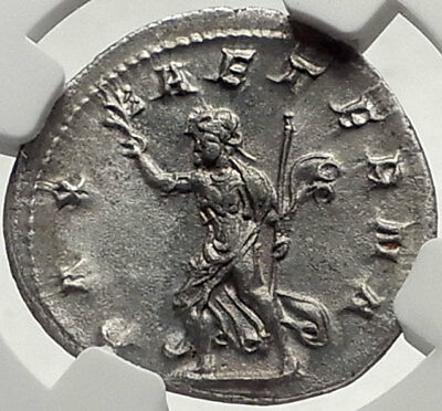 PHILIP I the Arab 244AD Rome Authentic Ancient Silver Roman Coin PAX NGC i68945