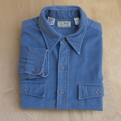 vtg usa made LL Bean Chamois Cloth Flannel periwinkle blue Shirt 16-1/2 Large