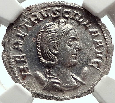 HERENNIA ETRUSCILLA Genuine Ancient 250AD Silver Roman Coin PUDICITIA NGC i68950