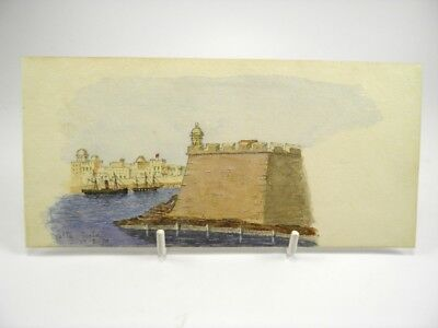 Antique late 19th century watercolour painting seascape view Malta