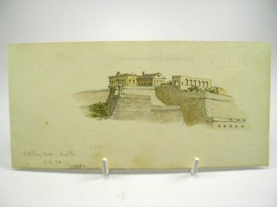 Antique late 19th century watercolour painting landscape view Malta