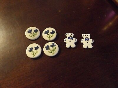 Lot of 6 Ceramic Buttons