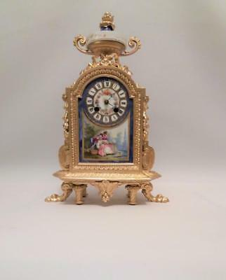 C19th French Japy Freres Ormolu Sevres Porcelain Mantle Clock (39 cm high)