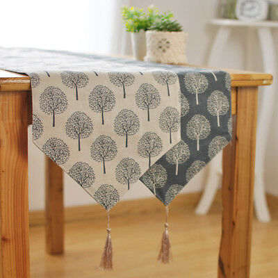 Home Table Runner Trees Pattern Simple Cover Cloth Cotton Linen Tassel Decor