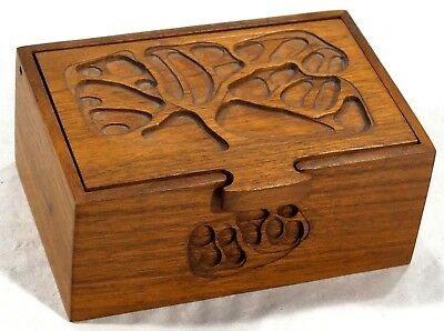 Vintage Peter Kwasniewski Hand Carved Lidded Mid Century Wooden Box Abstract