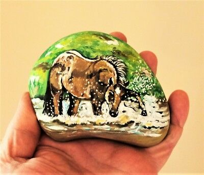 "Original Hand Painted ""splashing In The Creek"" Horse On Large River Rock Art"