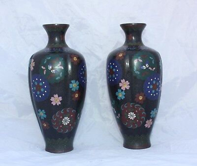 Pair of 19th Century Japanese Meiji Period Cloisonne Vases