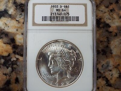 $150 VALUE!  1922-D Peace Silver Dollar, NGC MS-64!