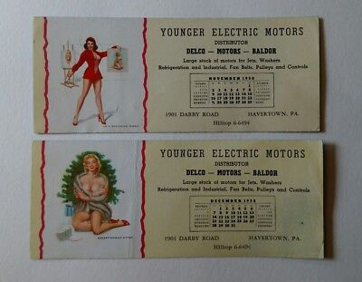 Pair of Vintage 1958 Pin Up Advertising Ink Blotters Younger Electric Motors Dec