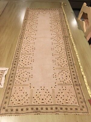 "Antique Vintage Victorian French Lace Table Runner 48"" by 17"" Copper Color"