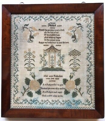 19th c Victorian Antique Sampler Amy Richardson 1848 Period frame