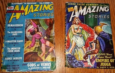 2 AMAZING STORIES  '43 V17#10 & '48 FALL QUARTERLY Vintage Pulp SPICY GIRL ART