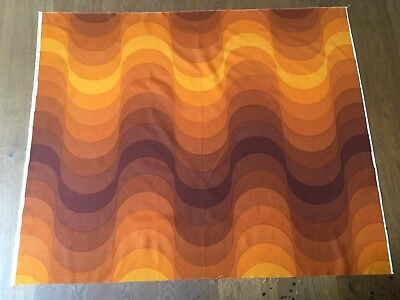 """Welle"" (Wave) fabric, by Verner Panton for Mira X Spectrum, Yellow & Brown, NOS"