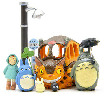8Pcs My Neighbour Totoro Studio Ghibli Cat Bus Figures Kids Toys Anime
