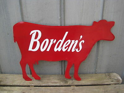 "Large 32"" x 21"" COW CATTLE Farm Metal Wall Sign Borden's Advertising  B8488"