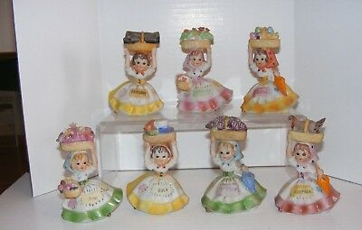 Vintage 1970's Lefton #6228 Lot of Bisque Vintage Birthday Girls Of The Month x7