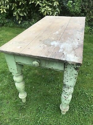 Victorian antique pine farmhouse scullery table, Rough Luxe Shabby Chic.