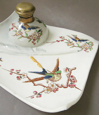 GD Paris Depose Georges Dreyfus French Porcelain Ink Well Tray Hand Painted