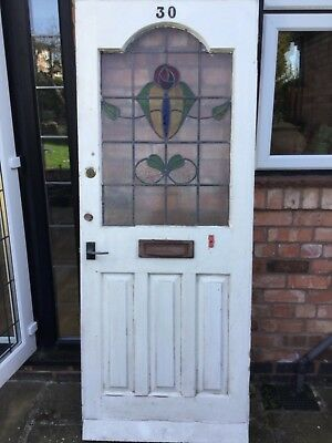 STAINED GLASS DOOR RECLAIMED 1920s