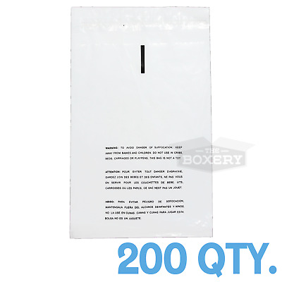 200 10x12 Self Seal Suffocation Warning Clear Poly Bags 1.5 mil Free Shipping
