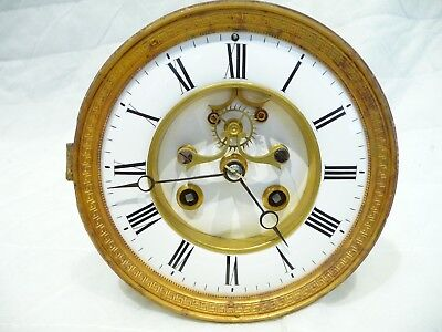 Antique French Clock Movement with visible escapement 1890's for small repair